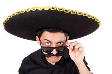 Funny man wearing mexican sombrero hat isolated on white