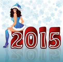 Happy New 2015 Year sexual santa girl, vector