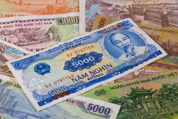 Different Vietnam dong banknotes