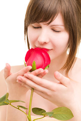 Lady with the rose and beautiful makeup