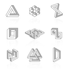 Trendy optical illusion shapes on white. Vector