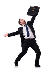 Dancing businessman isolated on the white