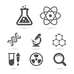 Science trendy icons pack. Vector elements