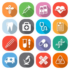 Trendy flat medical icons with shadow. Vector