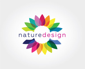 Abstract flower vector logo icon concept. Logotype template for