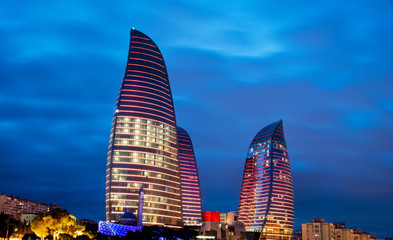 Baku - MARCH 9, 2014: Flame Towers on March 9 in Azerbaijan, Bak