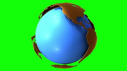 Earth planet globe rotates