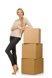 Woman with boxes relocating to new house isolated on white poster