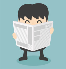 businessman reading  newspaper.vector