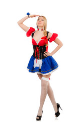 Woman waitress in oktoberfest concept