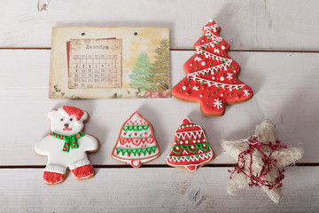 Christmas gingerbread painted icing and vintage handmade toys