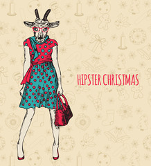 Hand drawn goat woman. Hipster Christmas greeting card.