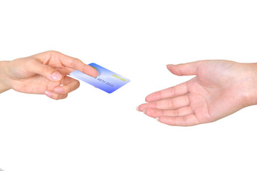 Closeup hand over a credit card