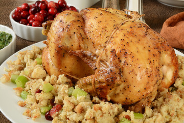 Raosted chicken with stuffing