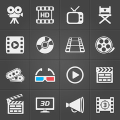 Cinema icons on black background. Vector