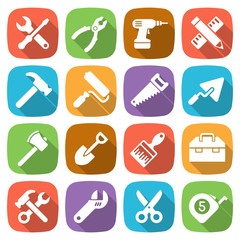 Trendy flat working tools icons. Vector