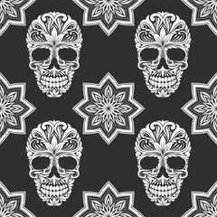 Black and Gray Skull Pattern