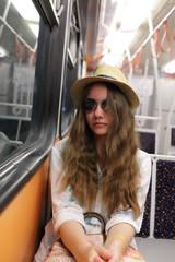 Girl in subway train