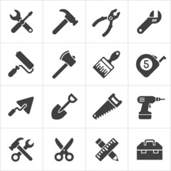 Working Tool and instrument icons white. Vector
