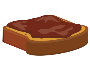 Slice of bread with chocolate spread on top