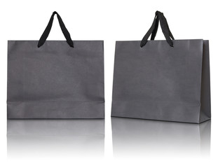 Gray paper bag on white background