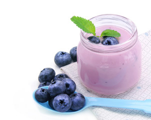 Fresh yogurt and blueberry berries