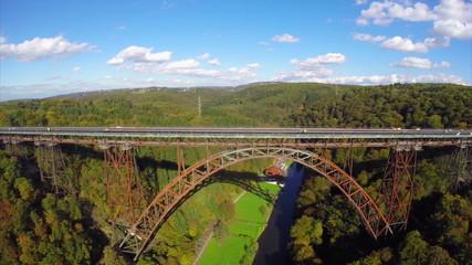 Mungstener Brucke old bridge construction, river Wupper aerial