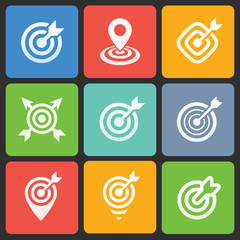 Colorful target icons for web and mobile. Vector