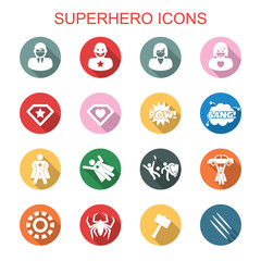 superhero long shadow icons