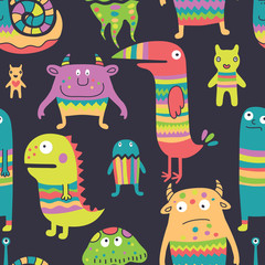 Funny monsyers seamless pattern