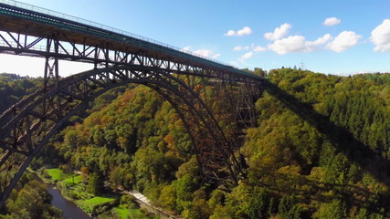 Amazing bridge aerial, huge railroad Mungstener Brucke, old high