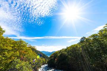 Yukawa river and the blue sky