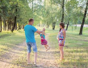 happy family in park