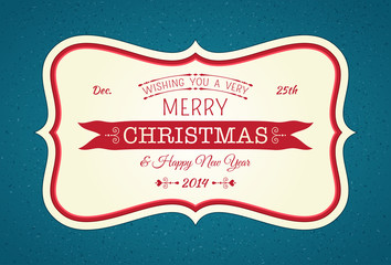Merry Christmas Horizontal Frame Card Blue