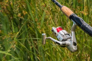 Sport Fishing Pole Reel Close Up