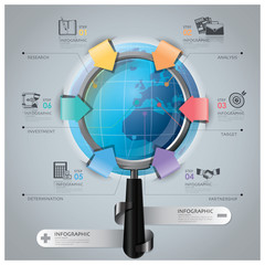 Global Business And Financial Infographic With Magnifying Glass