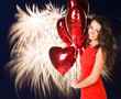 Sexy happy woman with balloons