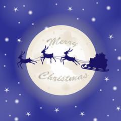 Santa sleigh over moon background
