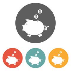 piggy bank dollar coin icon