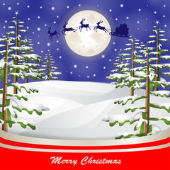 Santa sleigh over moon and Christmas tree background