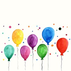 Colorful inflatable balloons. Birthday card decoration.