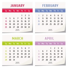 2015 calendar - january, february, march, april
