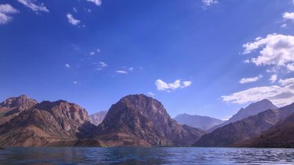 Mountain lake, clouds Panorama. IskanderKul. Time Lapse