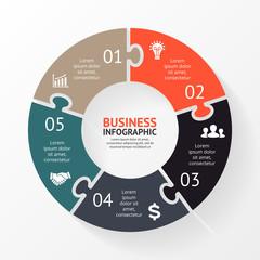Circle puzzle infographic, diagram, steps, 5 options