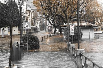 Lake Maggiore overflow in Laveno-Mombello, Varese