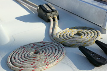 Coiled Ropes on a Yacht's Deck