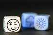 concept of good  summer weather - emoticon and weather dice on b
