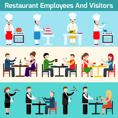 Restaurant employees and visitors