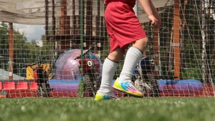 Minor footballer kick pinalti. Slow motion. 720p