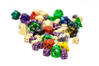 colorful role playing dices lying on isolated background